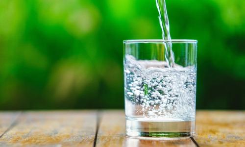 Dehydration, Glas mit Wasser auf Tisch, Pflanzen im Hintergrund