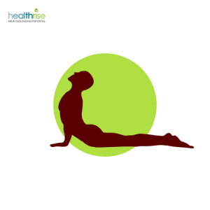 Mann liegt seitlich vor grünem Punkt mit Yogapose
