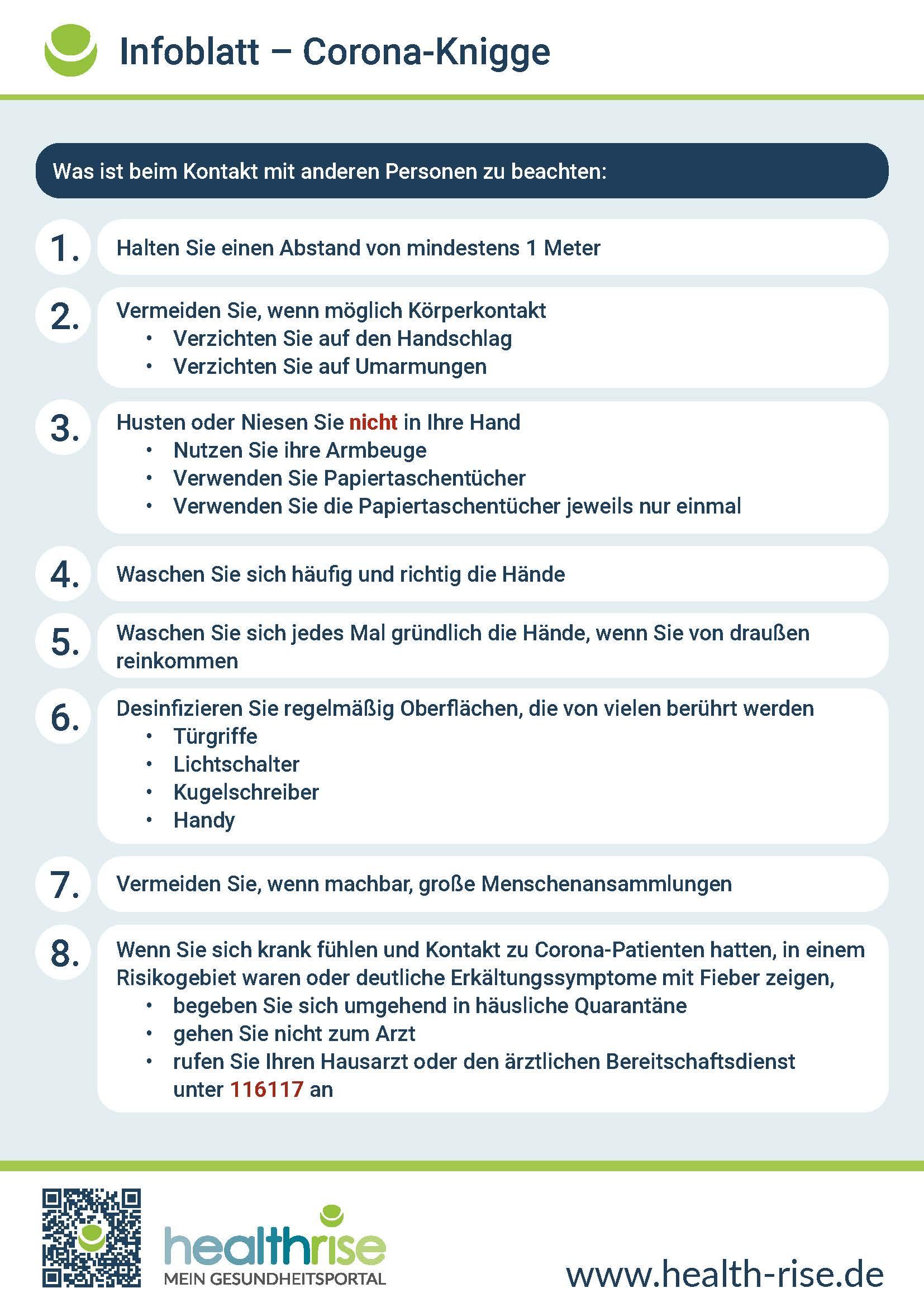 Corona-Knigge Infografik PDF