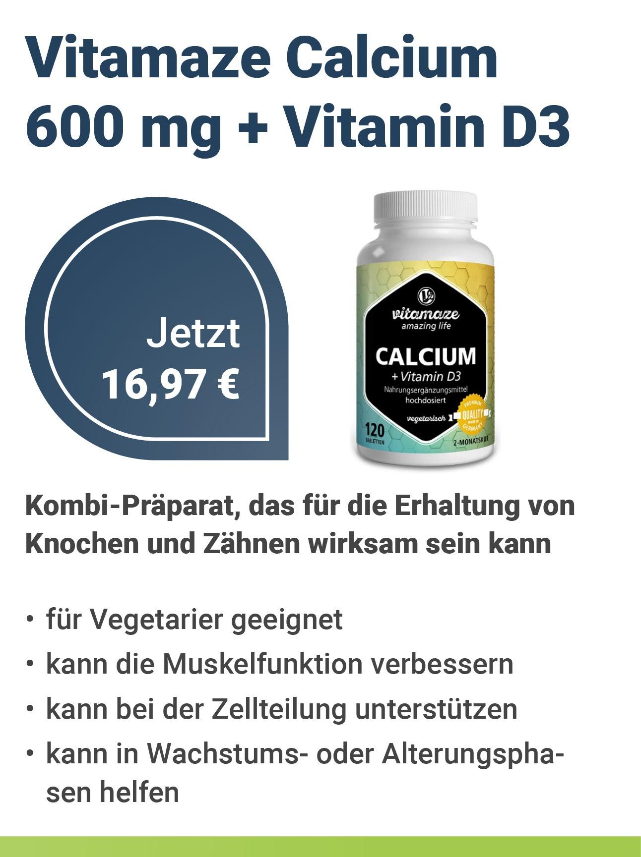 Vitamaze GmbH Calcium 600 mg + Vitamin D3